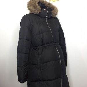 Maternity puffer long coat with faux fur hood S